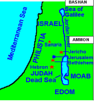 Map of Israel and location of Nephilim