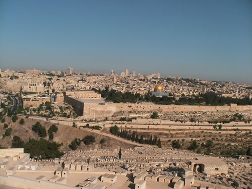 Looking at Jerusalem from the Mt. of Olives over the Kidron Valley