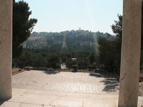 Looking the the east at the Mount of Olives from the Temple Mount in Jerusalem