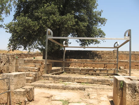 This is a steel bar frame showing the size of the altar and the exact location that the altar sat.  The altar itself has been dismantled.  Possibly during the times of Hezekiah's or Josiah's reforms.