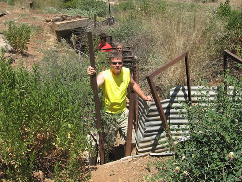 Galyn coming up out of the Israelite border bunker used in the wars and conflicts with Lebanon and Syria in 1967, 1973 and for border patrol during times of conflict.
